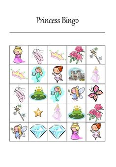 Free Printable Princess Bingo Game for 12 players #princessparty #partygames #freeprintable