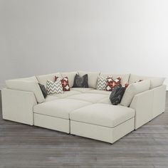 Custom Upholstered Pit Shaped Sectional Bett Beckham Couch Cozy