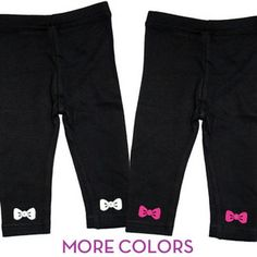 Baby Girl Bottoms - Black Leggings with Ankle Bows