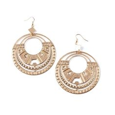 Pink Ice Antiqued Aztec Earrings ($9.99) ❤ liked on Polyvore featuring jewelry, earrings, antique gold earrings, clasp earrings, antique gold jewelry, antique gold jewellery and cut out earrings