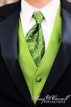 I love the green paisley tie. But maybe a lighter color?