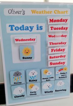 Kids Weather Chart - Free Printable - Creative Little Parties - Kids teach kids the days of the week and the weather with my Free kids day chart, free printable ki - Preschool Weather Chart, Preschool Charts, Preschool At Home, Preschool Printables, Weather Worksheets, Teaching Weather, Preschool Prep, Art Center Preschool, Preschool Binder