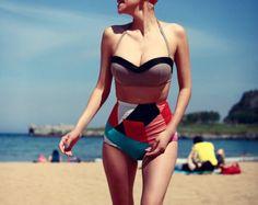 colore blocco geometrico bikini a vita alta pantaloncini knicker pantaloncini costumi da bagno