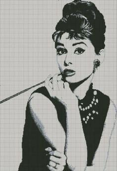 Audrey Hepburn x-stitch Cross Stitch Needles, Cross Stitch Heart, Cross Stitch Alphabet, Audrey Hepburn, Cross Stitch Designs, Cross Stitch Patterns, Cross Stitching, Cross Stitch Embroidery, Pixel Art