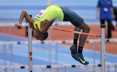 Mutaz Barshim, Qatar, sets a new Asian indoor record in the high jump of 2.41m during the AIT International Arena Grand Prix, Athlone, Ireland on 18 February 2015. Pic: Cody Glenn, Sportsfile