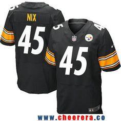 Men's Pittsburgh Steelers #45 Roosevelt Nix Black Team Color Stitched NFL Nike Elite Jersey