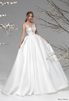 ricca sposa spring 2021 bridal sleeveless v neck heavily embellished bodice romantic ball gown a  line wedding dress mid back chapel train (11) mv -- Ricca Sposa Spring 2020-2021 Wedding Dresses | Wedding Inspirasi  #wedding #weddings #bridal #weddingdress #weddingdresses #bride #fashion #collection:BloomingSpring #label:RiccaSposa #week:212020 #year:2021 ~ Barbie Wedding Dress, Wedding Dress Sleeves, Dream Wedding Dresses, Wedding Gowns, Tulle Wedding, Mermaid Wedding, Ball Gowns Evening, Ball Gowns Prom, Ball Gown Dresses