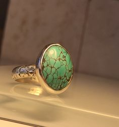 Handcrafted Turquoise and Solid Sterling Silver Ring/Great Sale Pricing on this item. by Jewelriart on Etsy https://www.etsy.com/listing/255327232/handcrafted-turquoise-and-solid-sterling