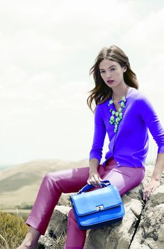 Bubble neckalce; high-waisted silk wool pant; featherweight cashmere; edie purse. SP12