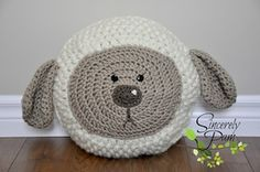 Little Lamb Pillow - $5.00 by Pam Dajczak of Sincerely Pam / Sheep Part 2 - Animal Crochet Pattern Round Up - Rebeckah's Treasures