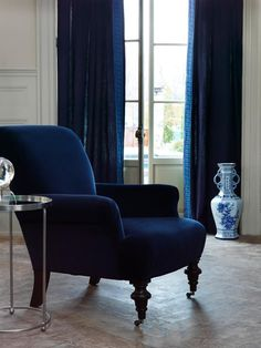 Burton Chair & Gianni - Dark Indigo fabric.  Image: CalicoCorners.com