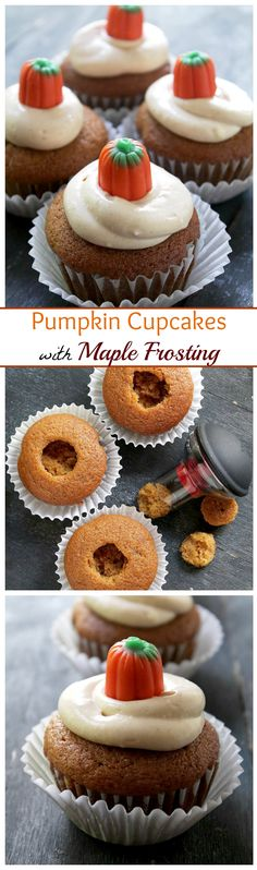 Moist, spiced and sweet Pumpkin Cupcakes topped with a delectable Maple Cream Cheese Frosting. Autumn in a bite!