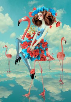 Vilnius, Lithuania based artist Natalie Shau specialized in photography, photo manipulation. Her work is often portrayed in Gothic Fantasy style. Here is her beautiful series Lost in Wonderland for your inspiration. Arte Dope, Flamingo Art, Pink Flamingos, Adventures In Wonderland, Art Archive, Surreal Art, Bunt, Collages, Amazing Art