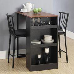 Isla 3-Piece Counter Height Dining Set with Storage, Espresso