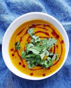 Curried Sweet Potato Soup for dinner tonight. ( recipe in caption below!)