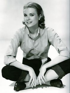 Grace Kelly wearing rolled up jeans and loafers