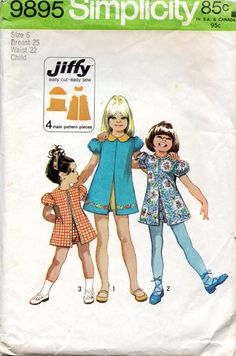 I had this outfit!!! Simplicity 9952 1970s Girls Jiffy Dress and Pull Up Shorts vintage sewing pattern by mbchills