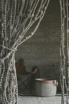 Jute Macrame Door Curtain - Natural with Knots  - 120cmW