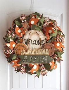 Fall Wreath Welcome Wreath Halloween by CharmingBarnBoutique