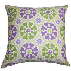 Eavan Purple and Green 18 x 18 Floral Throw Pillow