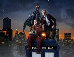 """doctorfriend79: """" The Ghost (Justin Chatwin), Nardole (Matt Lucas) & The Twelfth Doctor (PeterCapaldi) Doctor Who: The Return Of Doctor Mysterio """""""