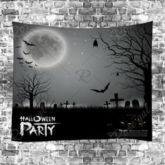 GRAY Halloween Cemetery Print Tapestry Wall Hanging Art Decoration W79 INCH * L59 INCH