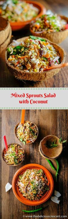 Mixed Sprouts Salad with Coconut, infused with Indian spices has a scrumptious earthy flavor. Sprouting makes the legumes super nutritious and more digestible. With high fiber and plant protein. Vegan and gluten free. Healthy Salad Recipes, Lunch Recipes, Vegetarian Recipes, Dinner Recipes, Cooking Recipes, Protein Recipes, Vegetarian Salad, Free Recipes, Healthy Food
