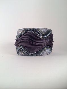 OOAK -Shibori silk -cuff -seed beads -bead embroidery -jewellery -accessory by SarahDekkerDesigns on Etsy https://www.etsy.com/listing/222492234/ooak-shibori-silk-cuff-seed-beads-bead