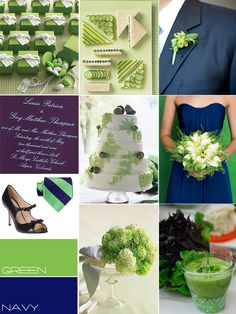 Navy & green wedding! yes!