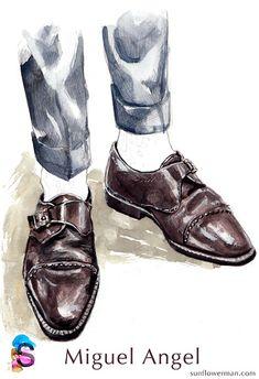 men-fashion- watercolor-illustration- Miguel Angel Monk #MensFashionIllustration