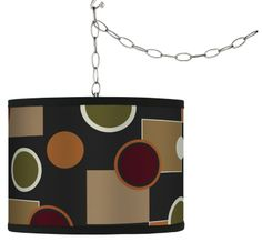 Retro Medley Brushed Silver Swag Style Plug-In Chandelier -