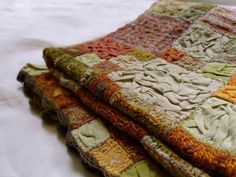 Textured quilt.  Sophie Digard - crochet and fabric
