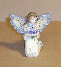 """Pavilion Elements February Kneeling Birthstone Angel Figurine 3"""" Tall"""