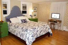 $400 was all it took to create this bedroom's preppy decor.