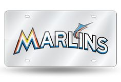 MLB Miami Marlins Laser License Plate Tag - Silver