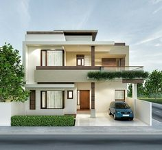Architectural previsualization renders n 2 Storey House Design, Duplex House Design, Duplex House Plans, House Front Design, Small House Design, Modern House Plans, Modern Exterior House Designs, Modern House Design, Indian House Exterior Design