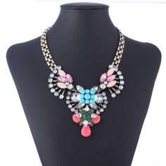 Delicate Colorful Resin Drill Decor Alloy Link Chain Necklace Women Ladies Jewelry Necklace