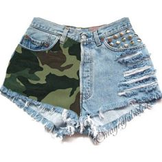 Army Camo 2.0 Any Size Vintage High Waisted Cut Off Shorts... ($50) ❤ liked on Polyvore featuring shorts, grey, women's clothing, cut off denim shorts, jean shorts, denim cutoff shorts, summer shorts and cut-off