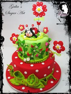 Ladybug Cake - Cake by Galia Hristova – Art Studio - CakesDecor Bee Cakes, Fondant Cakes, Cupcake Cakes, Owl Cupcakes, Fruit Cakes, Pretty Cakes, Beautiful Cakes, Amazing Cakes, First Birthday Cakes