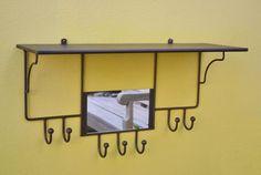 perchero estante repisa hierro estilo antiguo con espejo