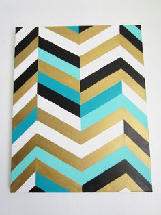 chevron art painting 16x20  gold teal turquoise black and white on Etsy, $64.00
