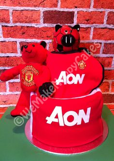 Manchester United 2 Tier Football Nappy Cake Baby Gift