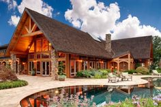 A cabin home with stunning-mountain-views, and of course a pool!  Definitely!!!