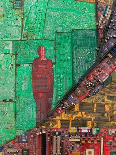 Ethiopian Artist Elias Sime Recycles Discarded Circuit Boards into Computer-Part Collages | Junkculture