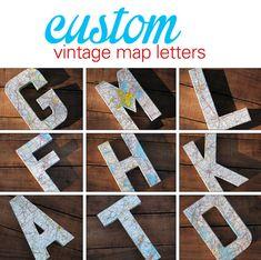 Custom Vintage Map Covered Letter - Alphabet - Home Decor, East Coast, 3 Dimensional, Free Standing, Florida, Georgia, Alabama, Carolinas