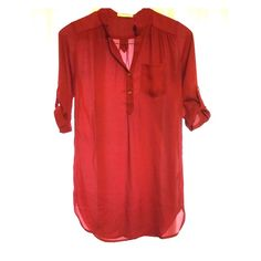Crimson sheer tunic Sheer crimson red tunic can be worn alone as a dress or with leggings as a top! Worn once by owner, condition is like new without tags! Dresses