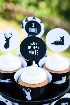 Modern Outdoor Man Birthday Party via Kara's Party Ideas KarasPartyIdeas.com Cake, printables, decor, favors, banners, cupcakes, and more! #modernparty #outdoorparty #karaspartyideas (28)