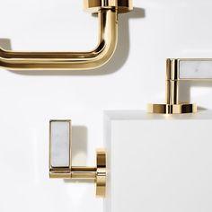 Sink faucet, white carrara handles, ONE DECORATIVE by Kallista
