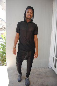 Mens Mesh Shirt / Black or White Mesh Hoodie Tshirt by GAGTHREADS