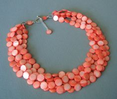 Salmon Pink Statement Necklace... Pink Chunky Necklace...Mother of Pearls Multi Strand Necklace...Salmon Pink Bridal Jewelry... via Etsy